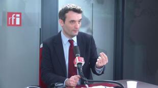 Florian Philippot, président des Patriotes dans les studios de RFI le 3 février 2020.