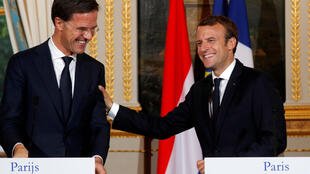 French President Emmanuel Macron and Dutch Prime Minister Mark Rutte at Thursday's press conference