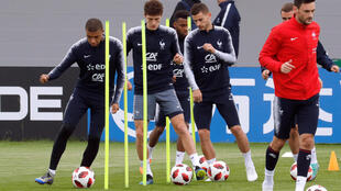 Các tuyển thủ Pháp tập luyện tại Istra, Nga ngày 04/07/2018.