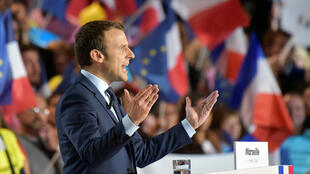 Emmanuel Macron speaks during a campaign rally in Marseille on April 1.