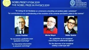 Os três vencedores do Prémio Nobel da Física. 8 de outubro de 2019.