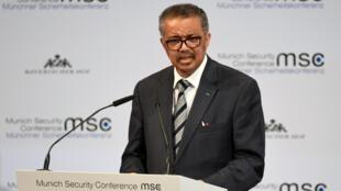 Tổng giám đốc WHO Tedros Adhanom Ghebreyesus trên diễn đàn Hội nghị An ninh Munich (MSC) ngày 15/02/2020.