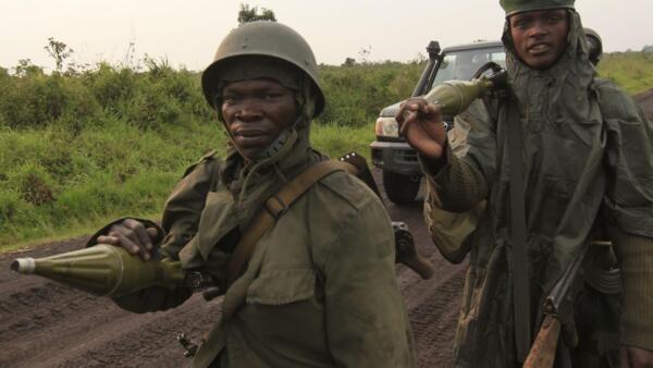 Soldados das Forças Armadas da RDC na região de Goma no Kivu-Norte