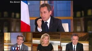 Sarkozy faces top French TV journalists (L-R) David Pujadas, Claire Chazal and Michel Denisot