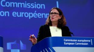 Ủy viên châu Âu phụ trách Thương Mại Cecilia Malmstroem trong cuộc họp báo sau khi Mỹ thông báo đánh thuế vào thép và nhôm nhập khẩu từ châu Âu, Bruxelles, ngày 01/06/2018