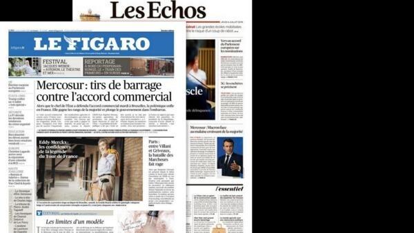 A imprensa francesa continua apontando resistências na França ao acordo concluído entre o Mercosul e a União Europeia.