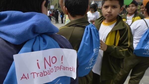 Manifestação em Lima, no Peru, contra o trabalho infantil