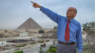 Sameh Asad, chairman of the Sound and Light show, near the pyramids
