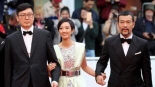 中國電影刁亦男與演員廖凡和台灣女演員桂綸鎂,2019年5月18號。