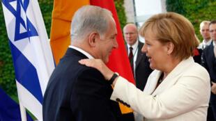 Le Premier ministre israélien Benjamin Netanyahu, à Berlin, avec la chancelière Angela Merkel, le 27 août 2009.