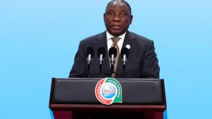Le président sud-africain, Cyril Ramaphosa, intervient lors du dialogue entre les dirigeants chinois et africains.