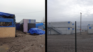 Tents and shacks in the Calais Jungle (L), and the new fenced-in container camp (R)