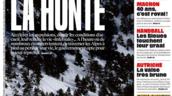 Capa do jornal Libération desta segunda-feira, 18 de dezembro de 2017, mostra grupo de migrantes atravessando fronteira entre a França e a Itália nos Alpes.