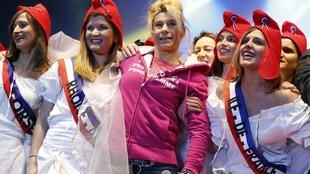 Virginie Merle, alias Frigide Barjot, with other opponents of same-sex marriage