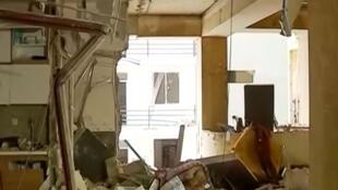 Скриншот репортажа первого канала ТВ Грузии с места взрыва газа в жилом доме в Тбилиси
