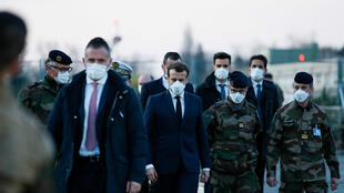 French President Emmanuel Macron visit to the military field hospital in Mulhouse