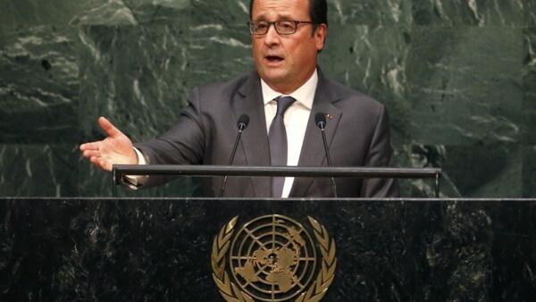 Le président français François Hollande à la tribune de l'Assemblée générale des Nations unies, le 28 septembre 2015, s'exprime sur la crise syrienne.