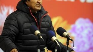 El presidente Evo Morales se expresa luego del lanzamiento del satélite Tupac Katari, el 20 de diciembre de 2013.