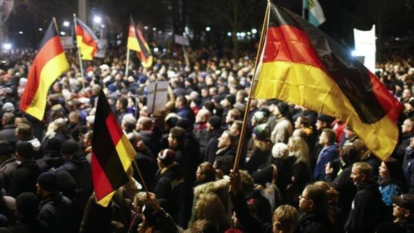 Manifestation du 15 décembre 2014, à Dresde, à l'initiative du mouvement islamophobe Pegida.