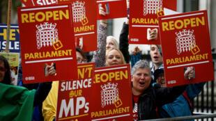 Người biểu tình vui mừng sau khi Tòa án ra phán quyết yêu cầu mở lại Nghị Viện Anh, Luân Đôn, ngày 24/09/2019.