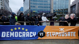 A demonstration against the use of glyphosate outside the European Commission on Monday