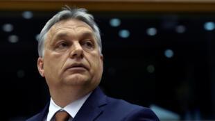 Le Premier ministre hongrois, Viktor Orban, devant le Parlement européen à Bruxelles, le 26 avril 2017.