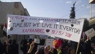 A demonstration in the Syrian town of Kafranbel on Tuesday