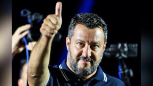 Matteo Salvini, en meeting le 9 août 2019 à Mola di Bari, dans le sud de l'Italie.