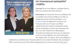 Anne-Laure Maleyre, candidate FN aux législatives dans la 10e circonscription des Hauts-de-Seine, est épinglé par Buzzfeed pour avoir commenté un article dans une affaire de pédophilie concernant un homosexuel.