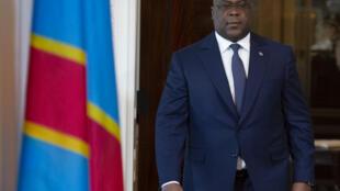Rais wa DRC Félix Tshisekedi akijiandaa kutoa hotuba ya kuukaribisha mwaka mpya wa 2020 Kinshasa desemba 31 2019.