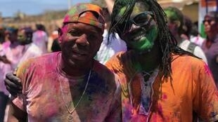 Two participants at the Indian Holi festival in Dakar, Senegal