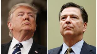 Tổng thống Mỹ Donald Trump (T) - Cựu giám đốc FBI James Comey (P).