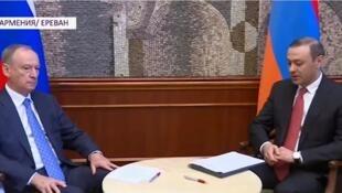 Секретари Советов безопасности Армении и России Армен Григорян и Николай Патрушев в Ереване 13 августа 2019.