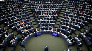 Le Parlement européen de Strasbourg lors d'une élocution du président de la Commission Jean-Claude Juncker.