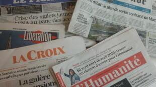 Primeiras páginas dos jornais franceses 18 de abril de 2019