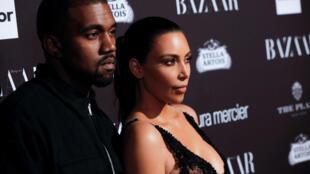 Kanye West and Kim Kardashian at New York fashion week, 9 Septembre 2016.