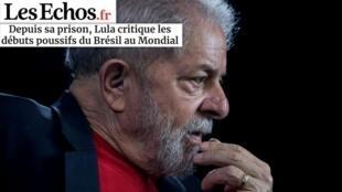 O jornal Les Echos desta terça-feira dá destaque para o ex-presidente Lula como consultor esportivo da Copa, mesmo estando na prisão.