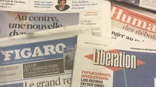 Primeiras páginas diários franceses 24/02/2017