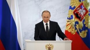 Владимир Путин выступает с ежегодным обращением Федеральному собранию