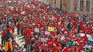 Strikers march in Johannesburg Thursday