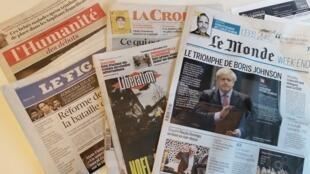 Primeiras páginas dos jornais franceses de 13 de dezembro de 2019