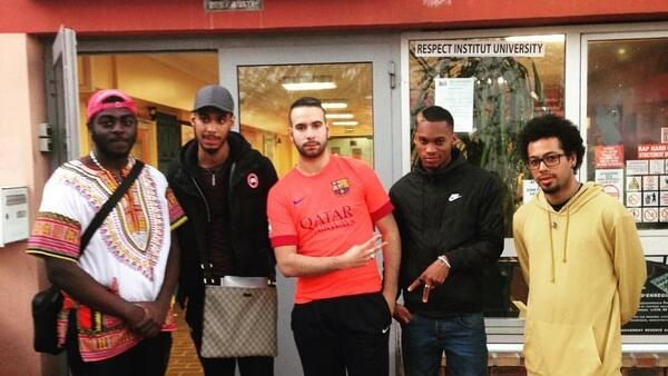 (From Left to Right) Dougs, Ryls, Samir, STO and Marvin, pictured, are among many young people from Paris suburbs that could offer an electoral prize for France's 11 presidential candidates. Créteil, April 10 2017