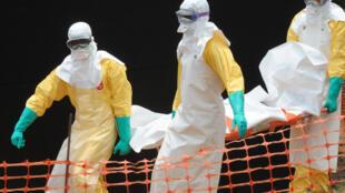 បុគ្គលិកអង្គការគ្រូពេទ្យគ្មានព្រំដែនសែងសាកសពអ្នកជំងឺ Ebola នៅប្រទេសហ្គីណេ (រូបថតឯកសារ)