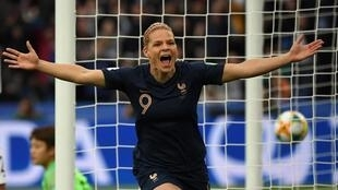 Ecstatic Eugénie Le Sommer after her goal, the first of four for France in the Womens' Football World Cup, Parc Des Princes, Paris, 7 June 2019.