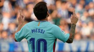Argentinian player Lionel Messi celebrates after scoring for FC Barcelona.