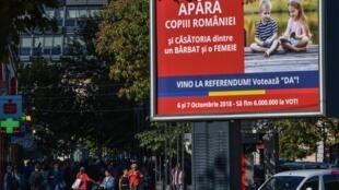 Афиша в Бухаресте, призывающая голосовать на реферерндуме за запрет однополых браков.