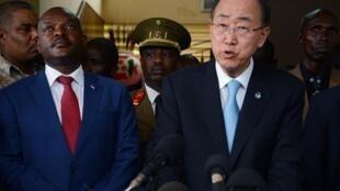 Burundi President Pierre Nkurunziza UN Secretary-General Ban Ki-moon at a press conference in  Bujumbura, on February 23.