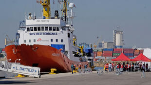 O  Aquarius atraca em Valencia com os 630 migrantes. 17 de Junho de 2018
