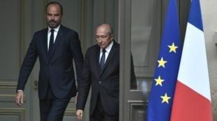 El premier Édouard Philippe y el exministro del Interior Gérard Collomb, el 3 de octubre de 2018.