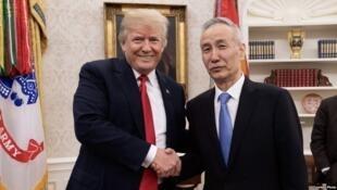 美國總統特朗普白宮會見習近平特使、中方代表團團長劉鶴。